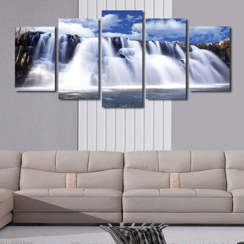⑦5 Pcs Pas de Cadre Géant Cascade paysage Peinture Toile Wall Art