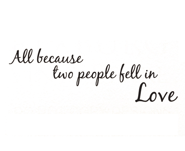 Wall Decal Sticker Quote All Because Two People Fell In Love