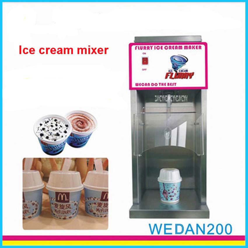 WEDAN200 110V/220V Ice Cream Mixer Yogurt Mc Flurry Mixer Fruit Juice Maker Frozen Yogurt Mixer Machine Flurry Ice Cream Maker fruit ice cream feeder from factory selling gelato fruit nuts mixer