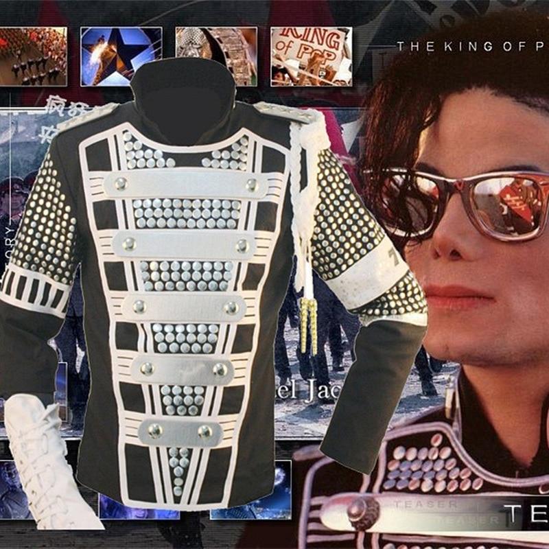MJ 마이클 잭슨 클래식 의류 독일 리벳 펑크 영국 군사 티저 군사 재킷 댄서 쇼 모방