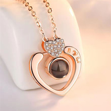 Projection pendant necklace sterling silver 100 languages I love you Double peach heart romantic memory his girlfriend a bi
