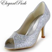 Femme Chaussures Nouveau Style EP2079 Argent Peep Toe talons hauts Glitter Prom Party Pompes De Mariée De Mariage Chaussures femmes dame