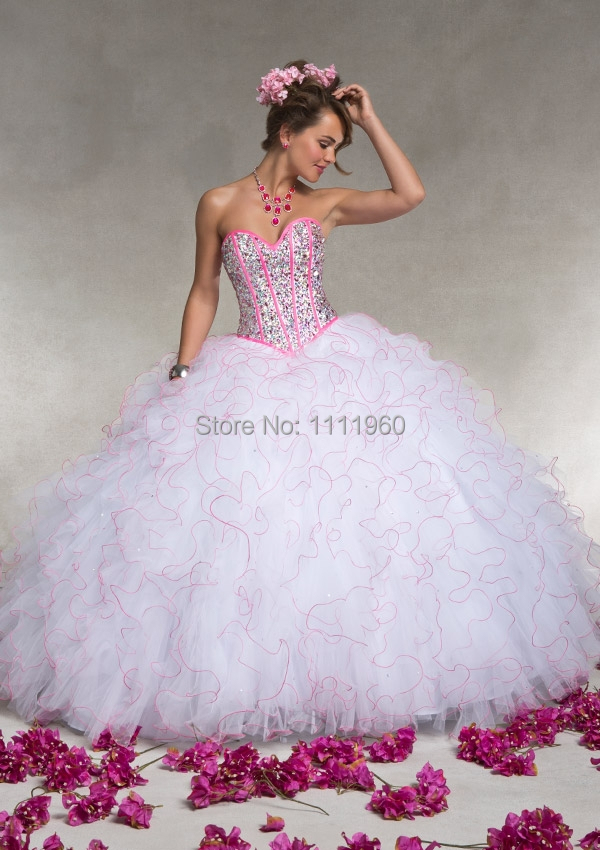 Aliexpress.com : Buy Ruffled Organza White Pink Quinceanera ...