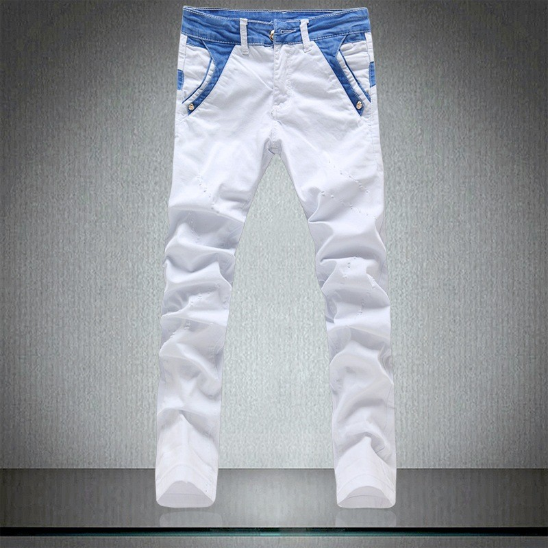White Biker Jeans Men High quality Cotton Mens Jeans Brand Slim Fit Jeans Large Size Skinny Ripped Jeans For Men Denim Overalls streetwear mens jeans ripped denim full pants new famous brand biker jeans men high quality slim patch jeans plus size 1604