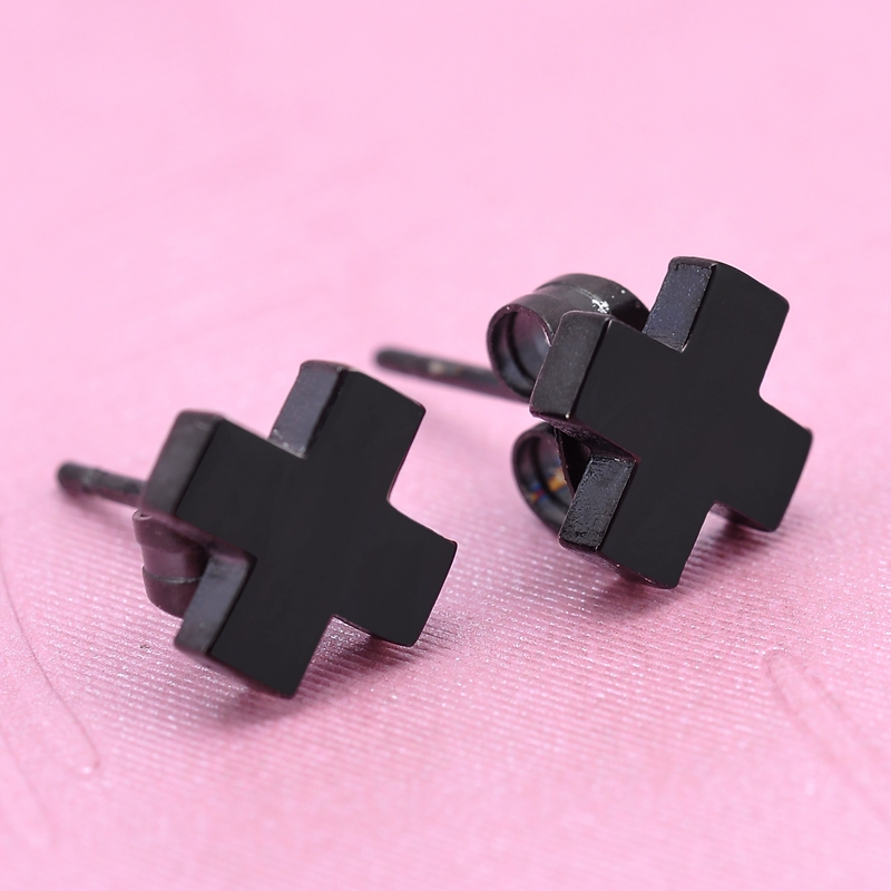 0a5b8e82b Men's Fashion Jewelry Black Cross Stud Earrings Gothic Punk Style 316  Stainless Steel Earrings For Women Men Earrings Jewelry -in Stud Earrings  from Jewelry ...