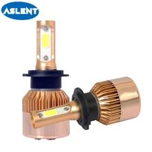 цена на ASLENT 2Pcs H8 H11 Lamp H4 Led H7 H1 H3 Car Headlight Bulbs For Auto S2 HB3 HB4 9005 9006 Led Automotive 12V 60W 8400LM 6000K