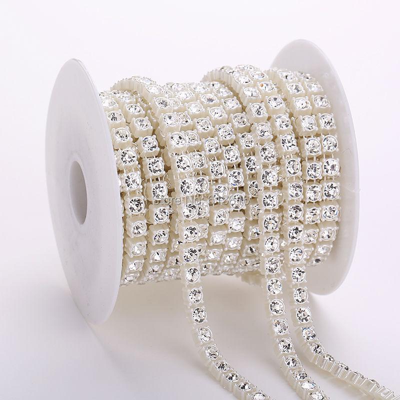 10yards 6 მმ კრისტალური rhinestone მარგალიტის ჯაჭვი DIY garland საქორწილო გაფორმება მარგალიტი მძივი ჯაჭვი