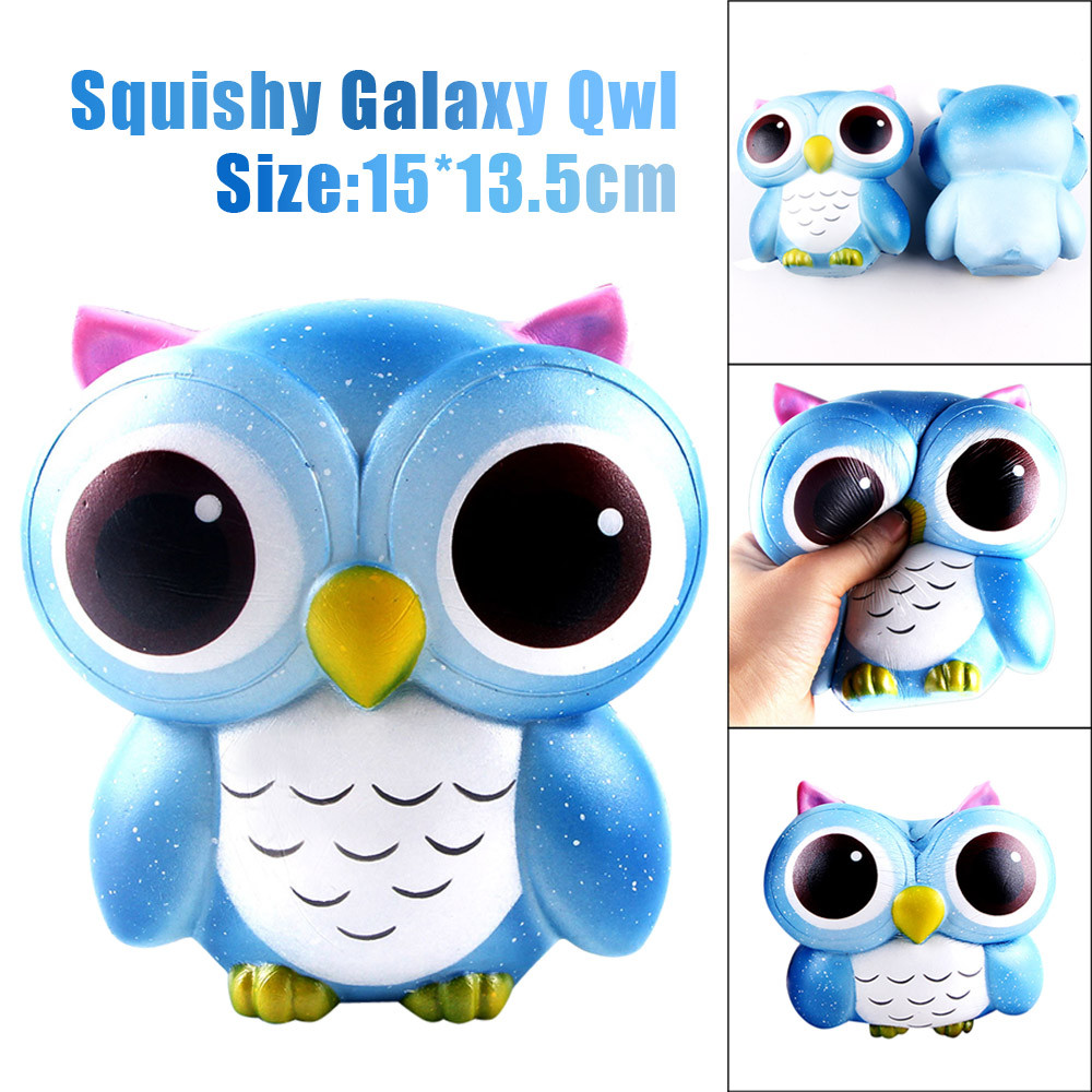 15cm Lovely Galaxy Owl Cream Scented Squishy Slow Rising Squeeze Toys Collection Cute Funny Novelty toys#0520