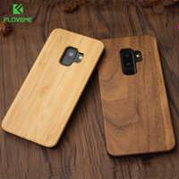 FLOVEME Per Il Caso di Samsung Galaxy S8 S9 Più Reale Cassa di Legno Per Samsung S9 S7 S6 Bordo Custodie Copertura di Legno di bambù Accessori Del Telefono