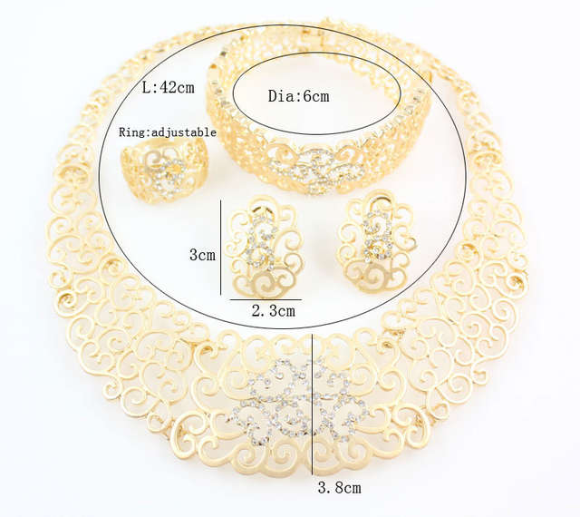 9dae7221b African Costume Jewelry Sets Gold Crystal Wedding Women Bridal Accessories  nigerian Flower Pattern Necklace Set-in Bridal Jewelry Sets from Jewelry ...