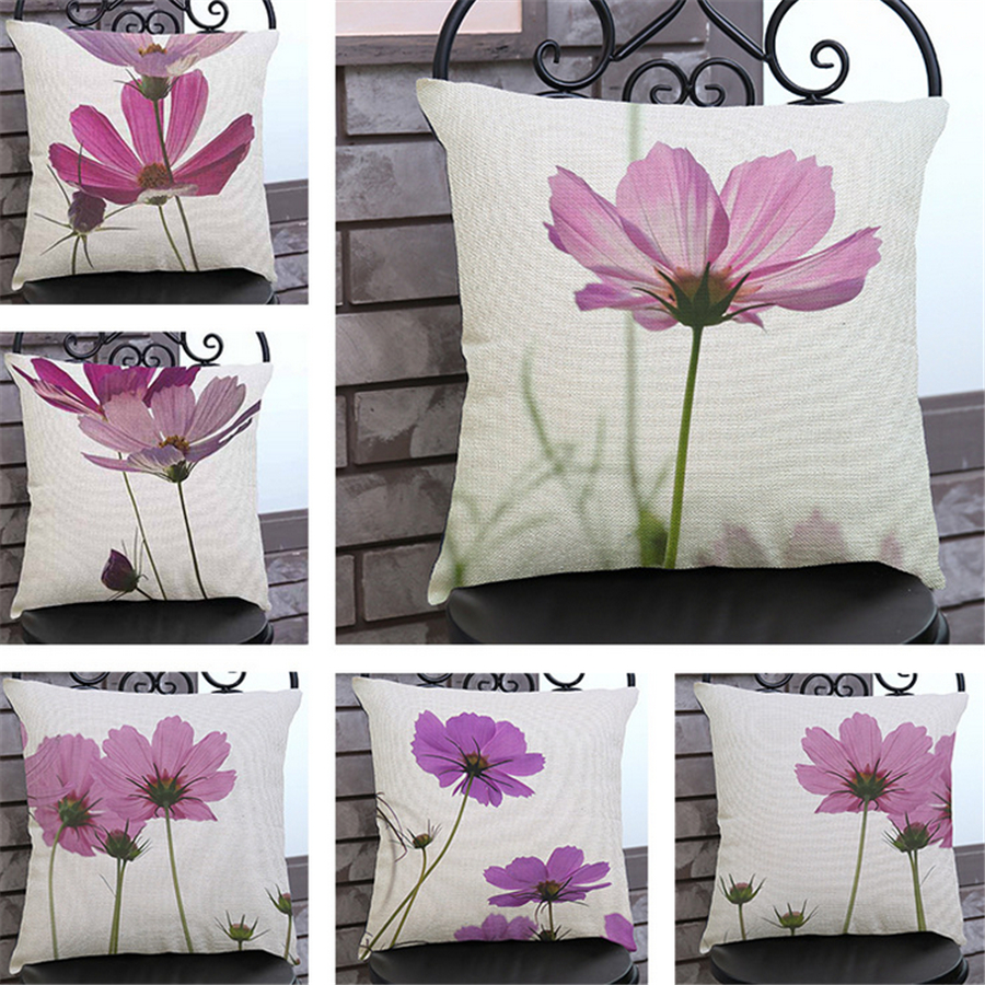 Flowers Plant Pink Cushion Covers Home Decor Office Chair Cojines