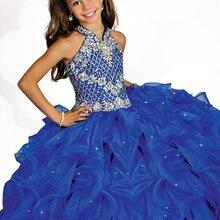 Детские пышные платья бальное платье, украшенное бисером, на бретелях, ручной работы, плиссированное синее выпускное платье из органзы, платье с цветочным узором для девочек, для свадебной вечеринки