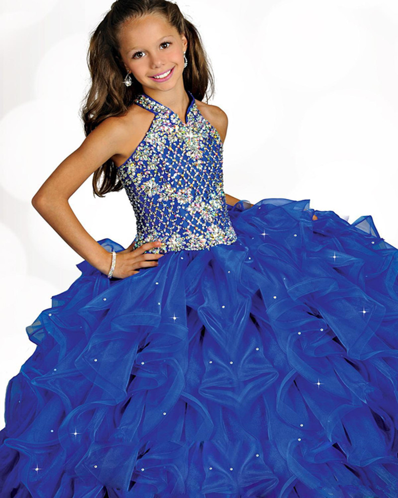 Kids Pageant   Dresses   Ball Gown Beaded Straps Handmade Pleated Blue Organza Prom Gown   Flower     Girls     Dress   for Wedding Party