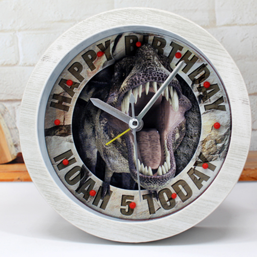 Retro Vintage Style Jurassic Park Desk Clock Dinosaur Table Alarm Clock Silent Clock Home Decor Birthday Gift Wood Imitation