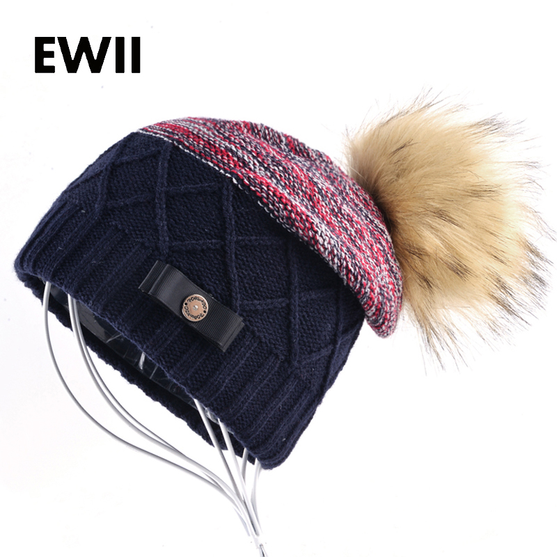 Ladies knitted wool caps women winter beanie cap girls beanies warm hats bonnet female women Imitation fur pompom hat gorro women s winter beanie hat wool knitted cap shining rhinestone beanie mink fur pompom hats for women