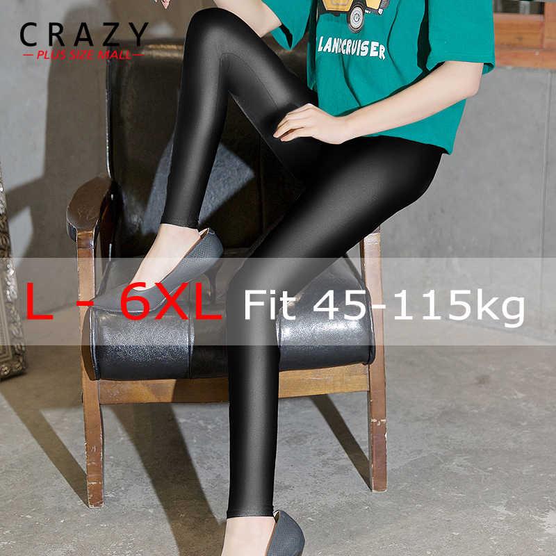 2019 L-6XL Spring & Winter Faux PU Leggings de Cintura Alta Plus Size Aptidão Vestindo Com Botas Femininas Skinny leggings