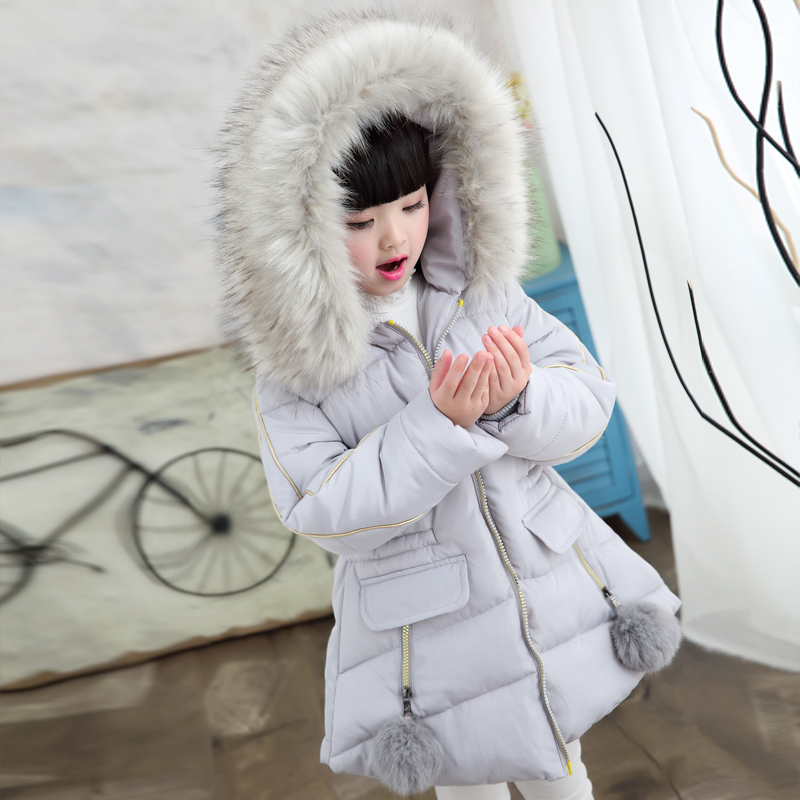 2018 Winter Jacket For Girls Fur Hooded Baby Toddler Girl Winter Coat Cotton-padded Parka Down Kids Children's Clothing Costume children s clothing girls winter down jacket 2018 baby kids long fur hooded thick outerwear toddler girl warm padded cotton coat