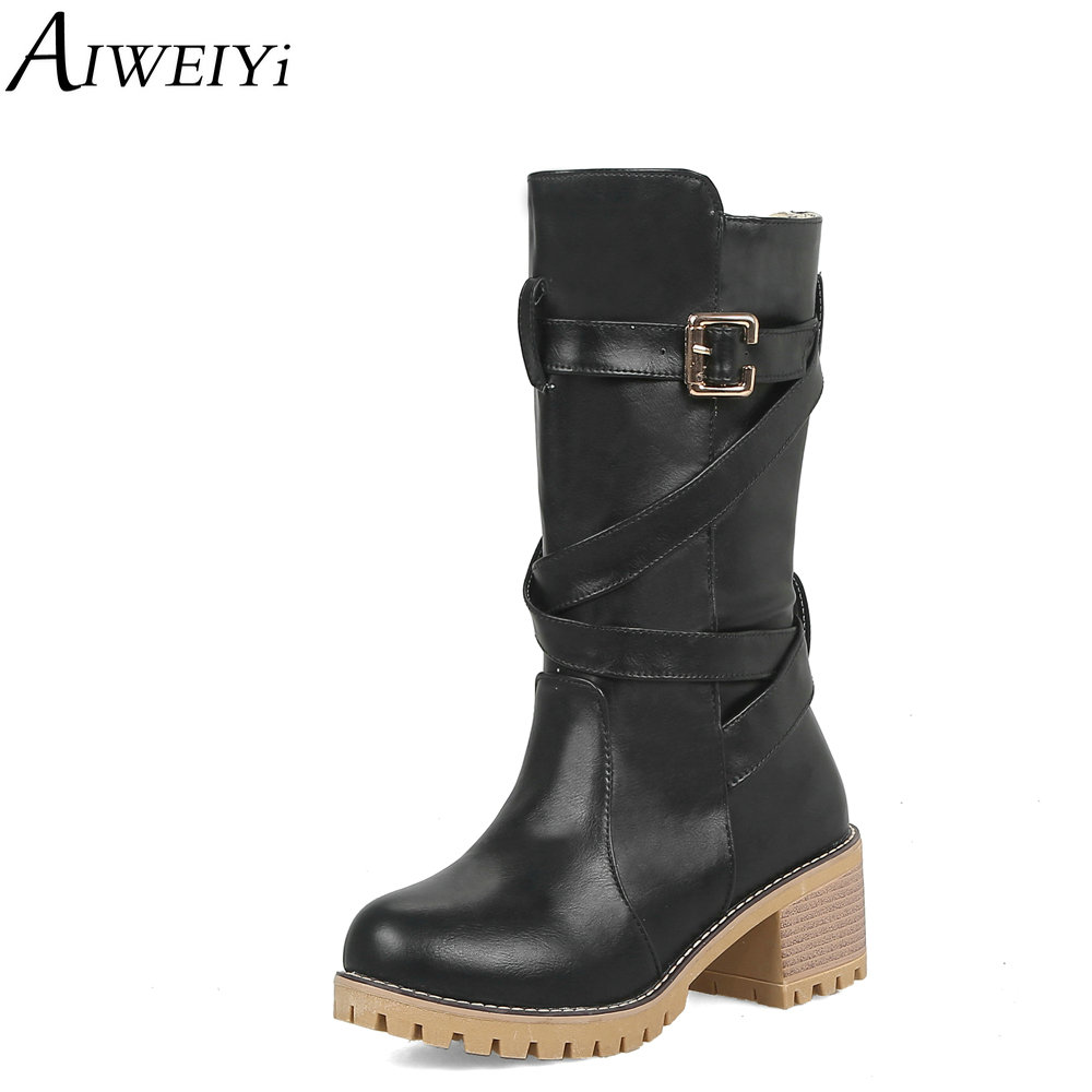 AIWEIYi bottes mi-mollet en cuir PU souple pour femmes semelle en caoutchouc talon épais talons hauts demi-genou bottes automne hiver Botas chaussures