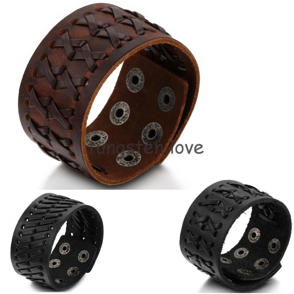 Promotion Fashion Wide Genuine Brown Leather Bracelet Braided Women Mens Bangle Size Adjule In Wrap Bracelets From Jewelry Accessories On