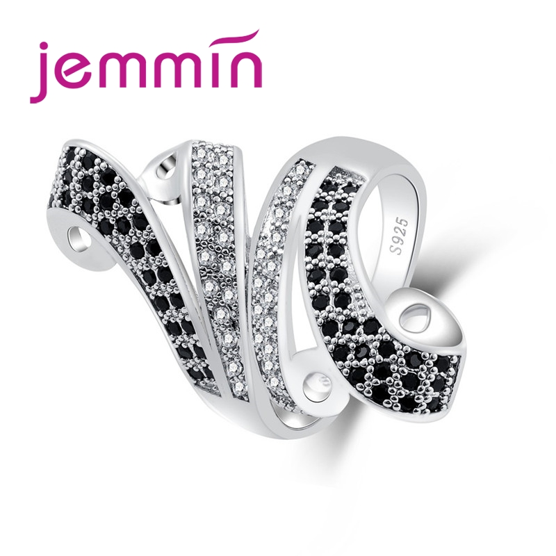 Art Deco Jewelry Cocktail Party Gift Full Small White & Black CZ 925 Sterling Silver Ring Size 6 7 8 9 10 11 Wholesale