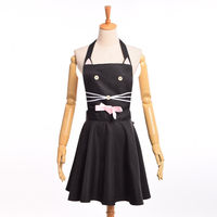 Women Cute Kindergarten Catering Apron Maid Cosplay Uniforms Women Anime Cat Pattern Dress