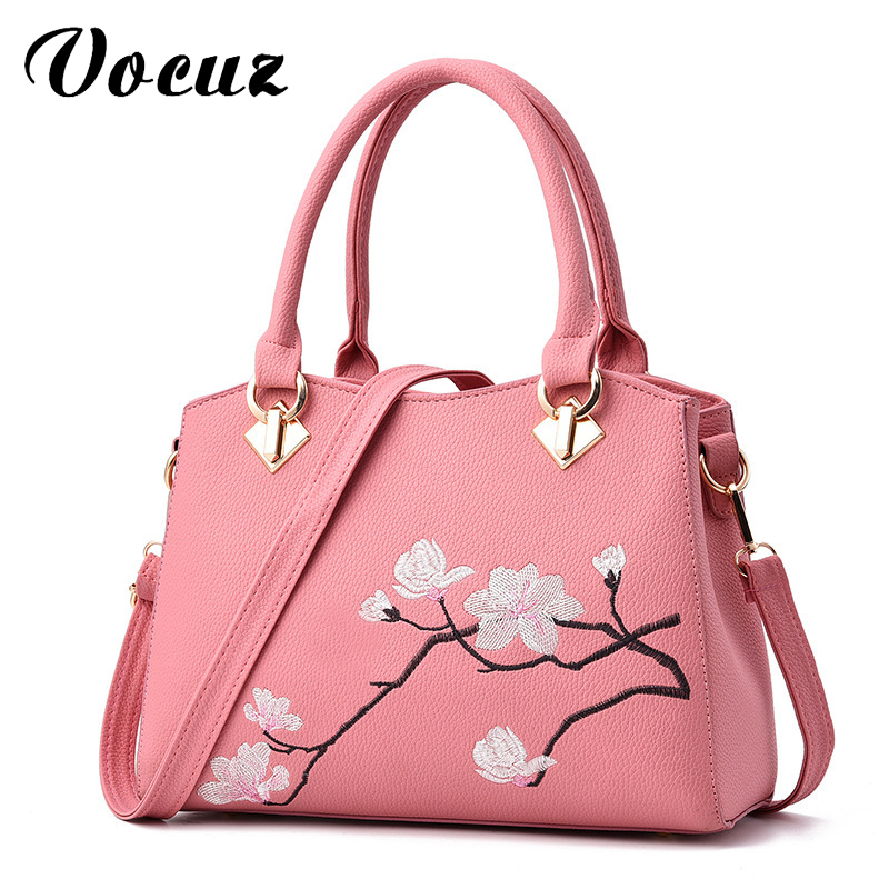 Women Bag Zipper Embroidery Flower Tote Three Layer Bag Ladies Evening Strap Bags Solid Color Female