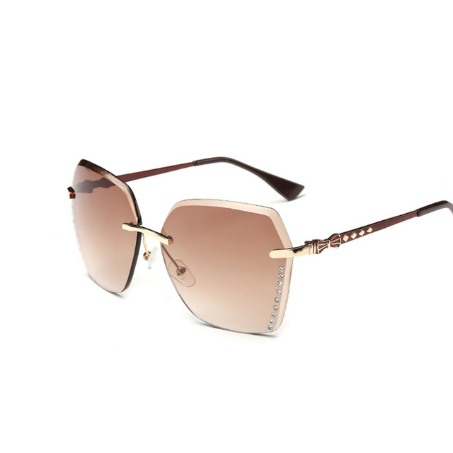 a09eef763b Sun Glasses for Women Quality The Gradient Cutting Rimless Ladies Sunglasses  Woman Sun Glasses Female Unique