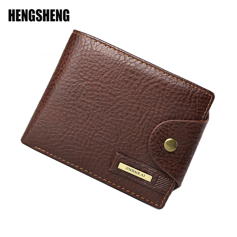 HENGSHENG Men Wallets Casual Men Wallet Short Paragraph Wallet Multi-Functional Purse Fashion Simple PU Leather Purse A4188 hong kong olg yat handmade carving wallet eagle mat men s brief paragraph vertical purse italian pure leather short wallets