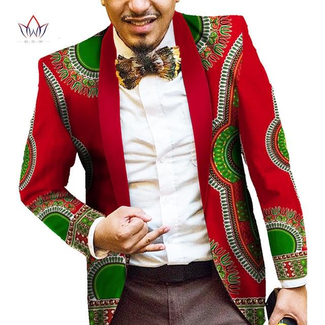 Мужчины Африканские Одежды Печати Blazer Куртки С Длинными Рукавами Модные Мужские Анкара Моды Блейзер Slim Fit 6XL Африканские Одежды Мужчин WYN184