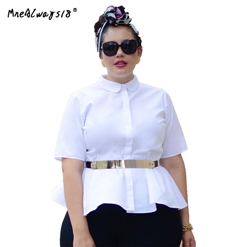 Mnealways18 Koreaanse Plus Size Mode Vrouwen Shirts Peplum Tuniek - Dameskleding