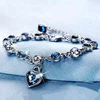 925 Sterling Silver Sapphire Bracelet For Women Romantic Heart-shaped Blue jewelry pulseira feminina kehribar bizuteria Bracelet