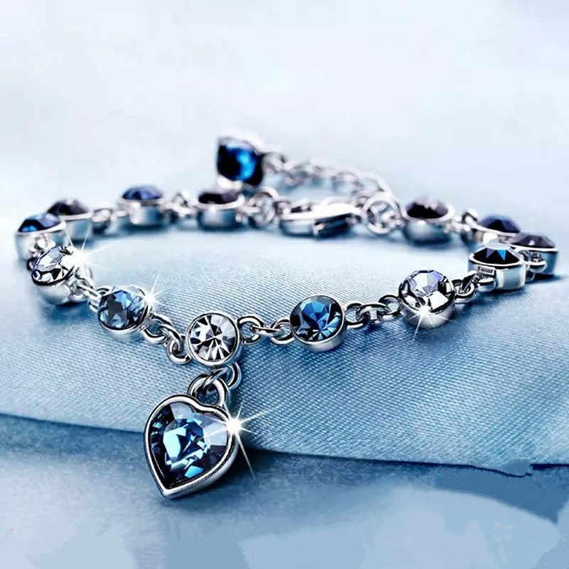 925 สเตอร์ลิงเงินสร้อยข้อมือผู้หญิงโรแมนติกรูปหัวใจสีฟ้าเครื่องประดับ pulseira feminina kehribar bizuteria สร้อยข้อมือ