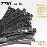 LIKOU Nylon cable tie 10x400mm 10x500mm 10x650mm 10x800mm 10x1000mm Plastic self locking wire ties straps 100PCS BLACK
