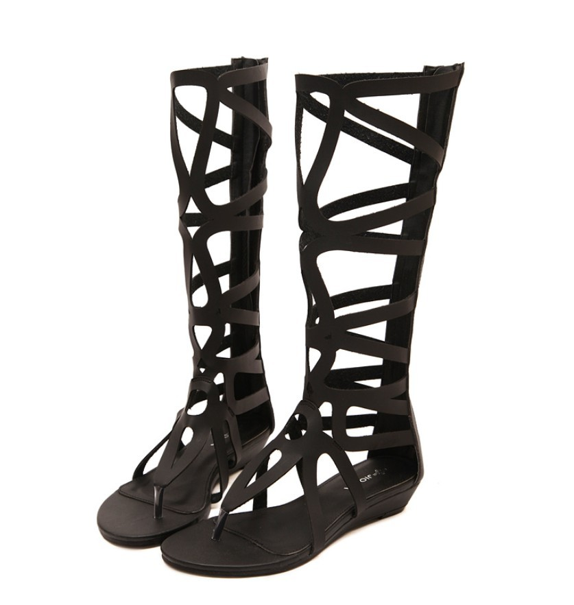 casual women girl raw leather gladiator roman knee high summer boots thong cut-outs sandals clip toe flat heel summer booties 2015 new deluxe brand 100% high quality flat summer women knee high gladiator sandals genuine leather cut outs cover heel shoes