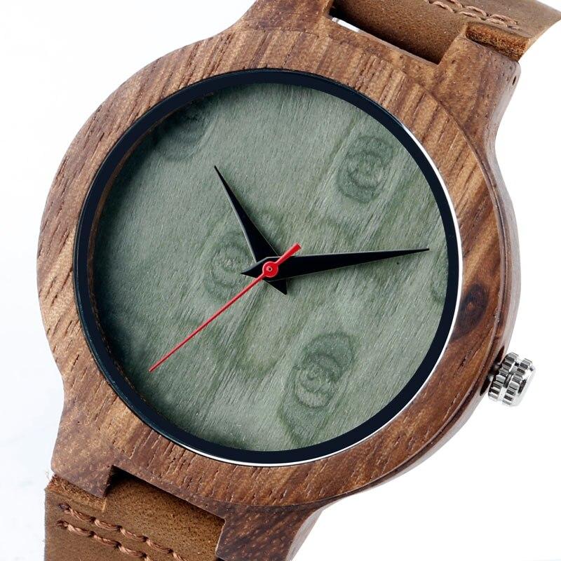 Unique Wrist Watch Handmade Gift Trendy Simple Genuine Leather Band Strap Women Bamboo Analog Quartz Nature Wood Men