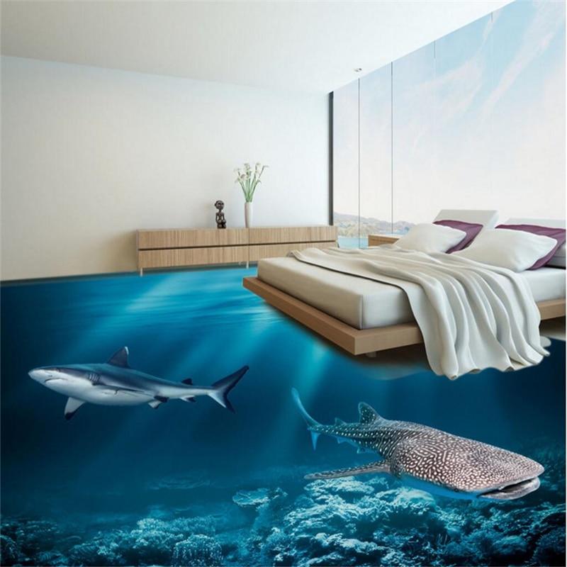 Beibehang Custom Photo Floor Painting Wear Thicker PVC 3D Underwater World Floor Decoration Painting,papel De Parede Wallpaper