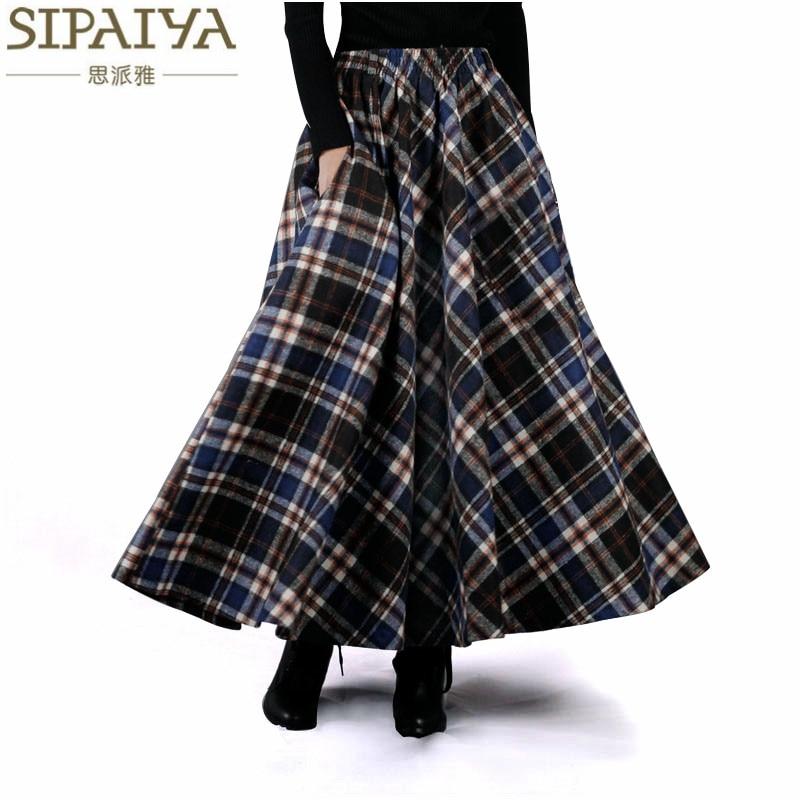 2017 Φθινόπωρο Χειμώνας Γυναίκες Φούστες 50s Vintage και Ρετρό Μαλλί Maxi Ελαστική Μακρυά Κλασσική Χοντρό Θερμό Σάϊς Longa