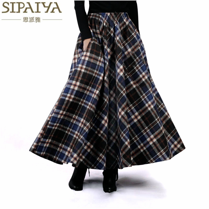 2017 herfst winter vrouwen rok jaren 50 vintage en retro wol maxi elastische taille plaid klassieke dikke warme saias longa
