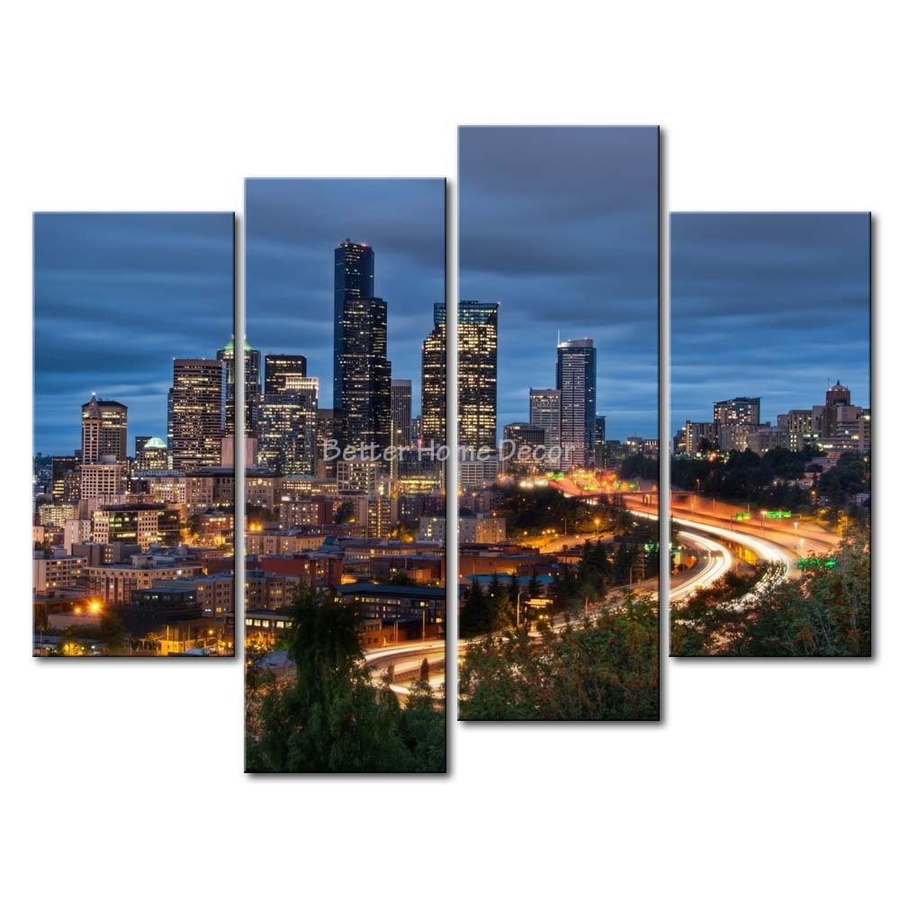 Aliexpress Com Buy 3 Pieces Wall Art New York City: 3 Piece Blue Wall Art Painting Seattle High Rise Building