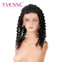 YVONNE Brazilian Deep Wave Virgin Hair Full Lace Human Hair Wig Natural Color Free Shipping