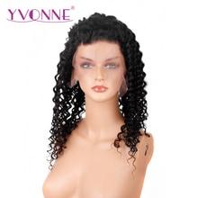YVONNE Brazilian Deep Wave Virgin Hair Full Lace Human Hair Wig Natural Color Free Shipping