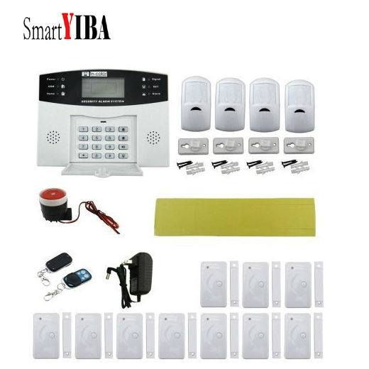 SmartYIBA Gsm SMS Alarm System 99 Wireless Zones Pir Door Detector Anti-thief Home Security Burglar Alarm Russian French Voice zones wireless pir home security burglar alarm system auto dialer with wireless door sensors detector new high quality