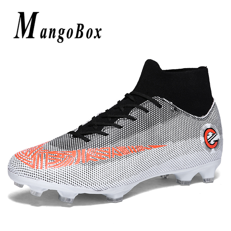 Men Football Sneakers High Top Sneakers and Boots Artificial Grass Ground Soccer Shoes Football Youth Boys Shoe Spiked Sneakers