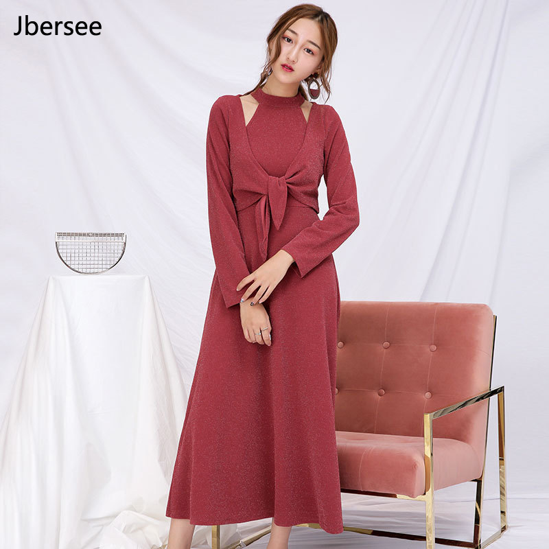 Jbersee Knitted Suit Spring Autumn Dress Womens Long Sleeved Warm Long Section Dress Two Piece Solid