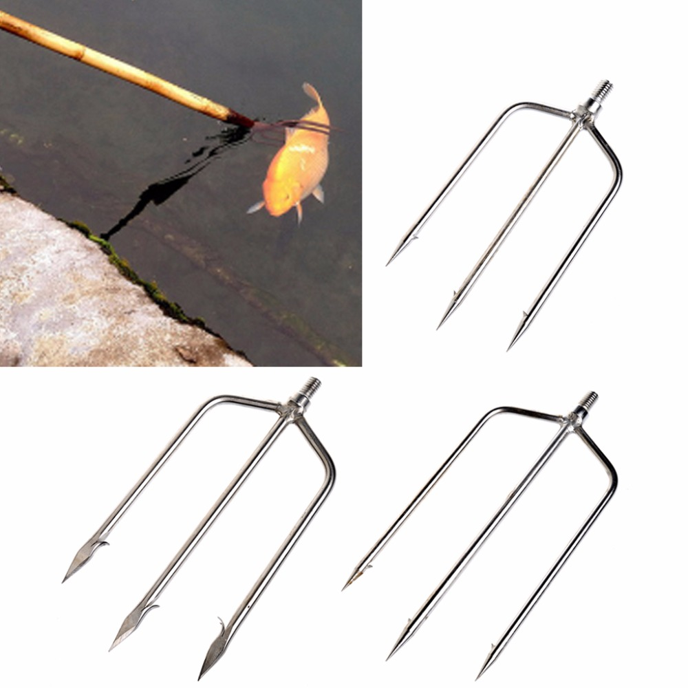 Stainless Steel Prong Harpoon Fish Fork Fishing Ice Breaker AccessoryTackleToolStainless Steel Prong Harpoon Fish Fork Fishing Ice Breaker AccessoryTackleTool