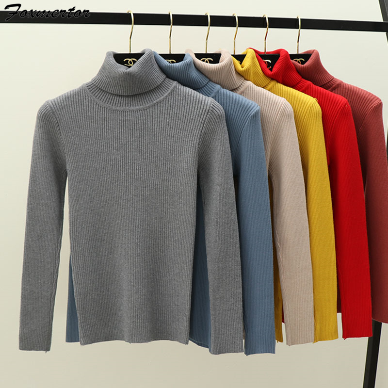 New Womens Sweaters 2019 Winter Tops Turtleneck Sweater Women Thin Pullover Jumper Knitted Sweater Pull Femme Hiver Truien Dames