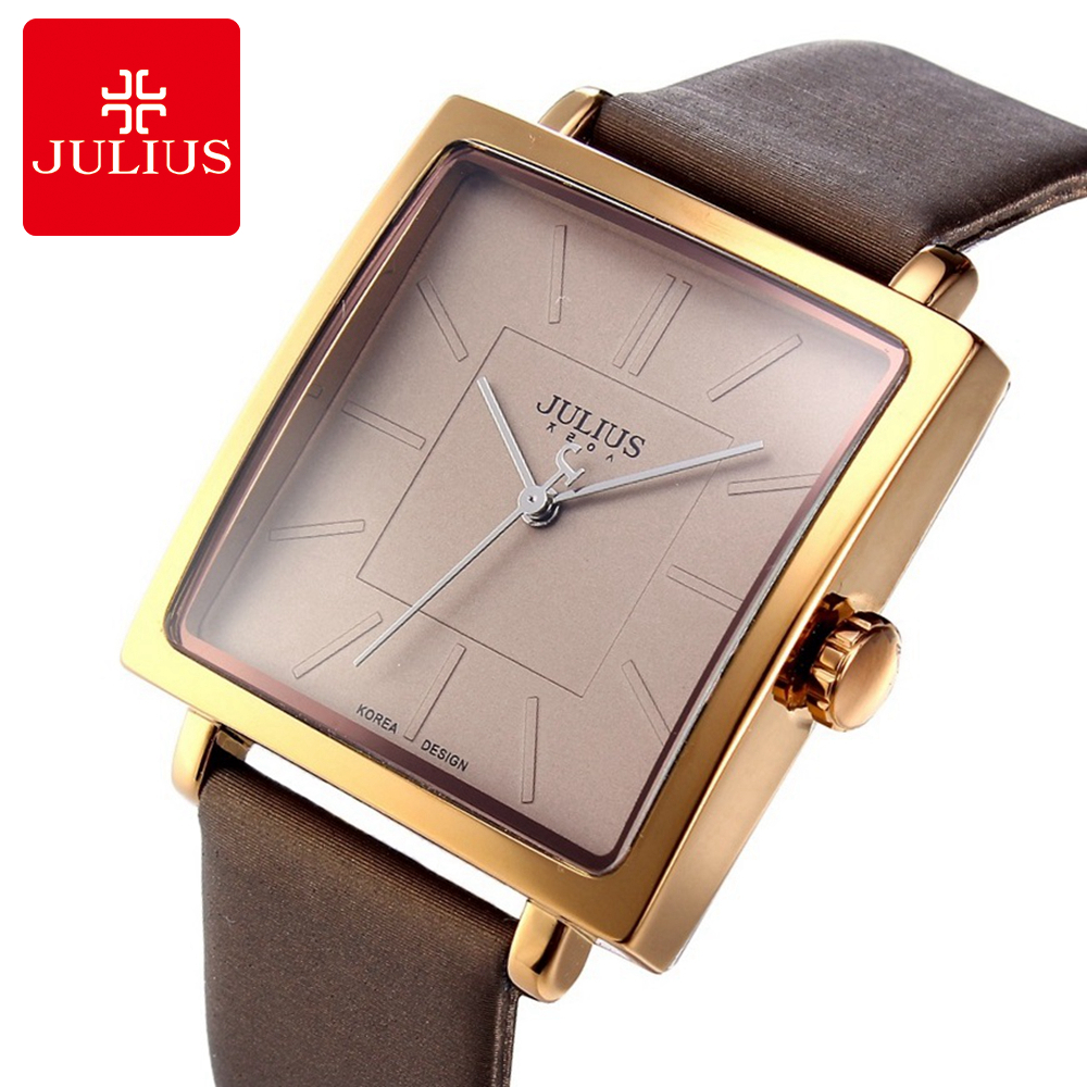 2017 Top Quality Men Leather Strap Analog Wrist Watch Men's Sport Fashion Casual Quartz Watches Hot Famous Brand Julius 354 Hour big size dial plate fashion men s quartz leather watch wrist strap watches 8 type optional top quality