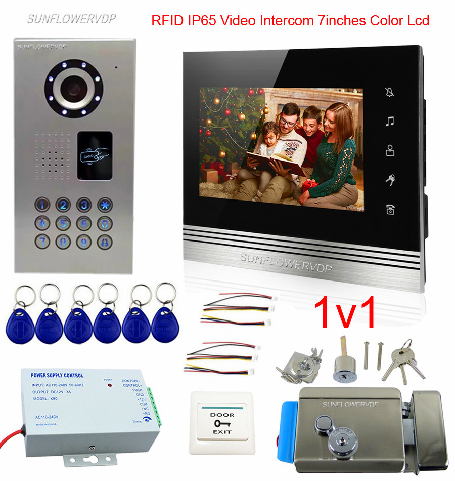 IP65 Waterproof Video Intercom For A Private House With Touch Buttons 7 Color Monitor Videophone Rfid Home Intercom + Door Lock private l a