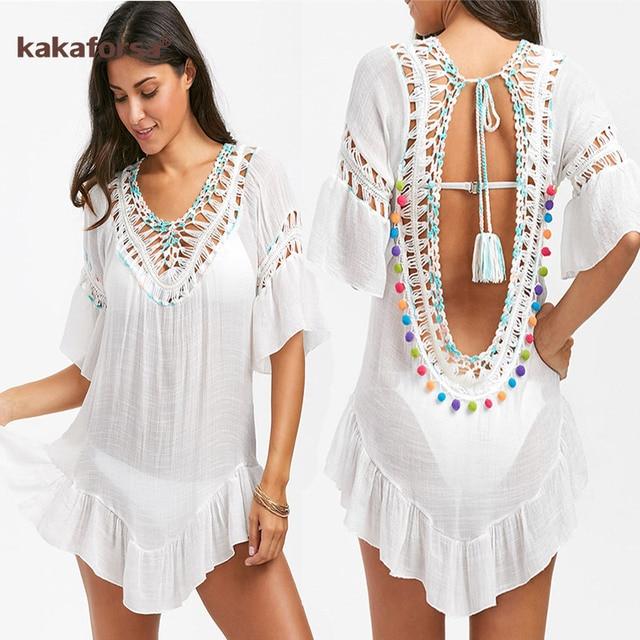 Kakaforsa сексуальное пляжное платье с кроше, Летний пляж, хлопковое закрытый купальник Одноцветный халат De Plage, туника, накидка для купальника