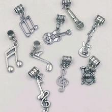 9pcs Antique Silver Music Symbols / Microphone / Drum / Guit